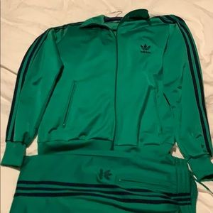 Adidas track suit. Green with navy.